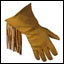 Leather Gloves - Lined Golden Fringed Gauntlet