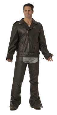 """Big and Tall"" Traditional Belted Motorcycle Jacket"