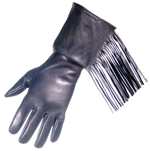 Lined Fringed Gauntlet Handcrafted Leather Gloves